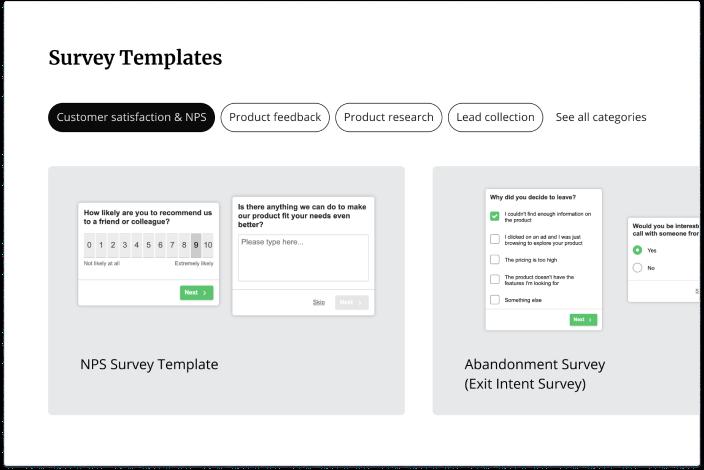 Hotjar's survey templates